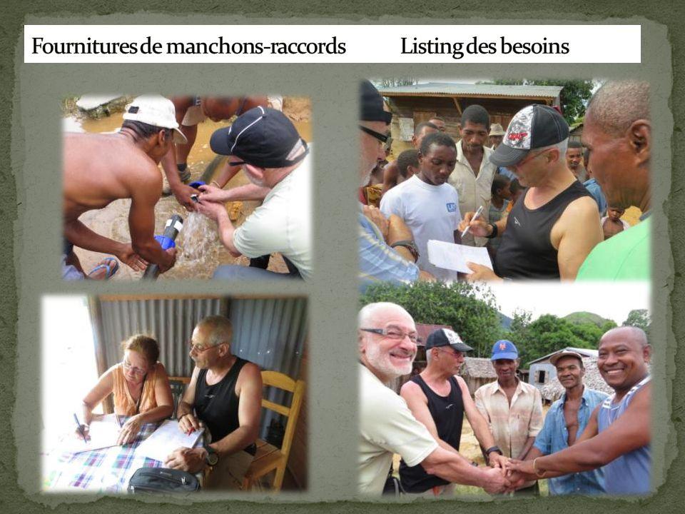 Fournitures de manchons-raccords Listing des besoins