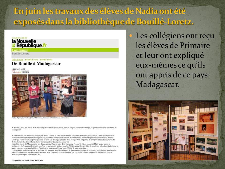 En juin les travaux des élèves de Nadia ont été exposés dans la bibliothèque de Bouillé-Loretz.