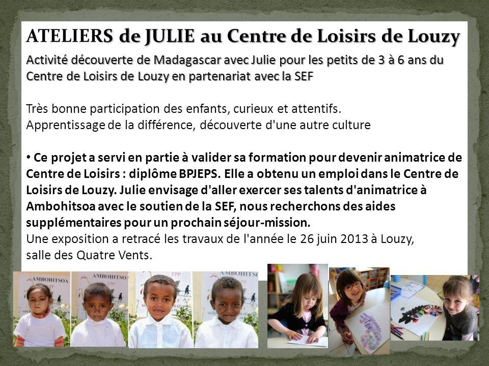 ATELIERS de JULIE au Centre de Loisirs de Louzy