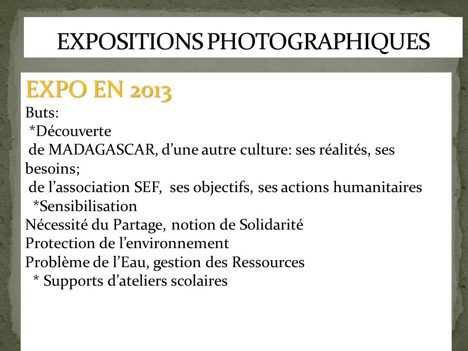 EXPOSITIONS PHOTOGRAPHIQUES
