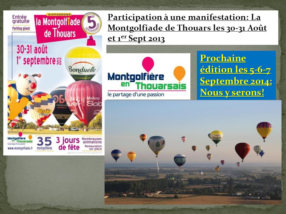Prochaine édition les 5-6-7 Septembre 2014: