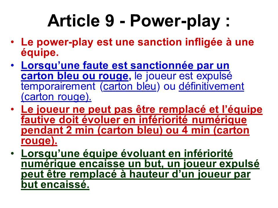 Article 9 - Power-play : Le power-play est une sanction infligée à une équipe.