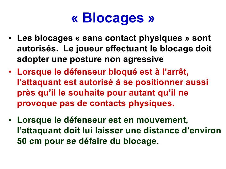 « Blocages » Les blocages « sans contact physiques » sont autorisés. Le joueur effectuant le blocage doit adopter une posture non agressive.