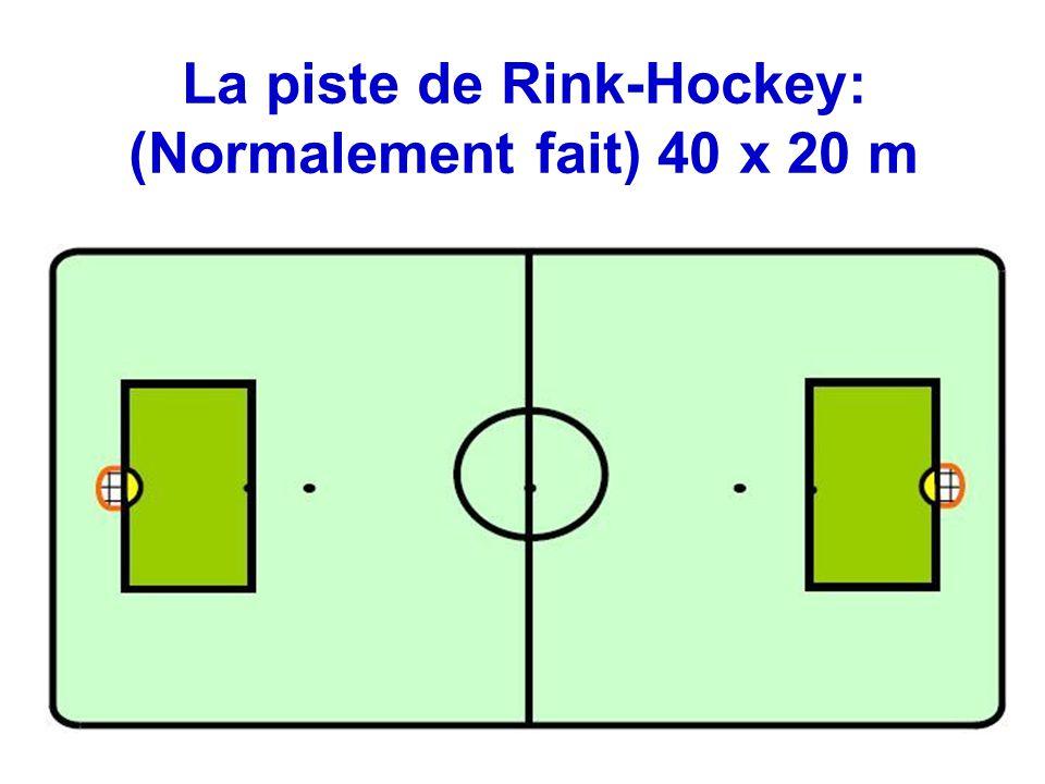 La piste de Rink-Hockey: (Normalement fait) 40 x 20 m