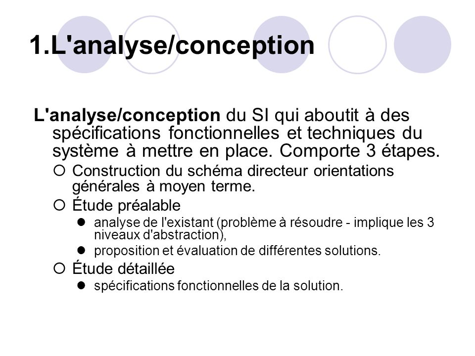 1.L analyse/conception