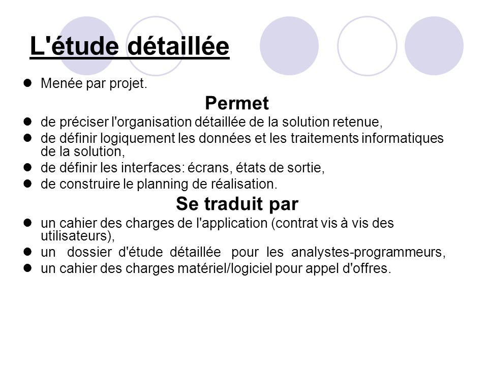 L étude détaillée Permet Se traduit par Menée par projet.