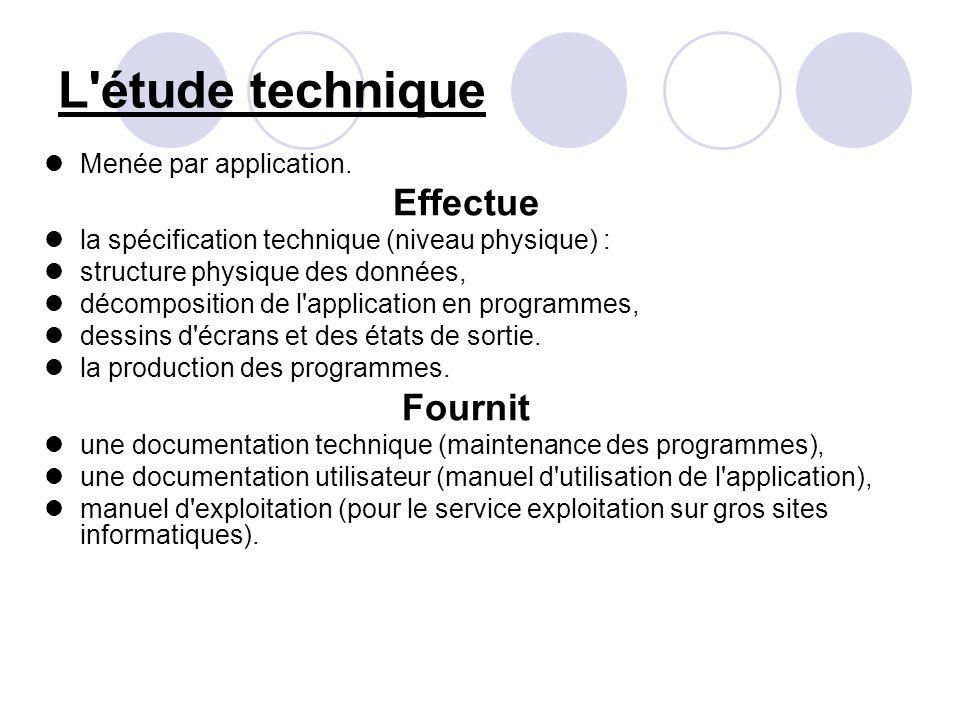 L étude technique Effectue Fournit Menée par application.
