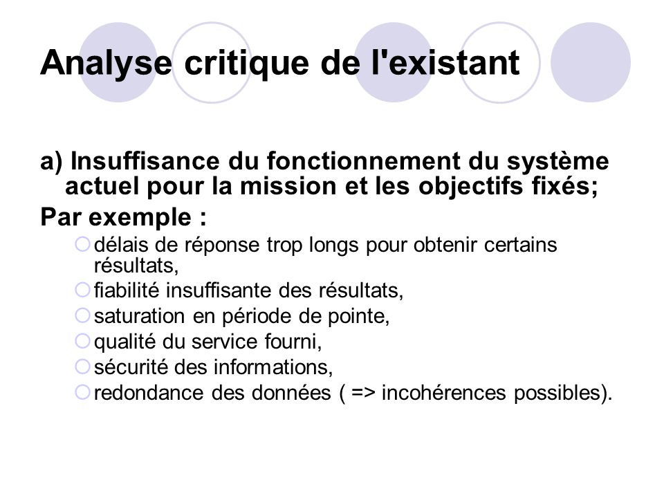 Analyse critique de l existant