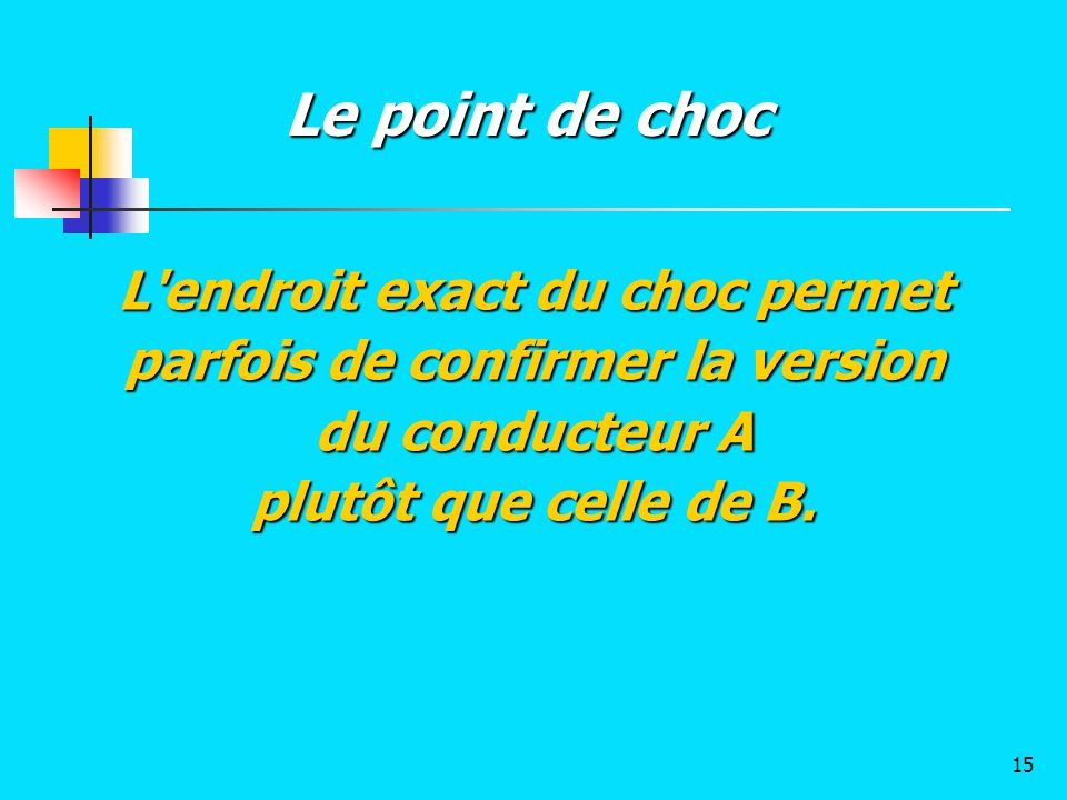 Le point de choc L endroit exact du choc permet parfois de confirmer la version du conducteur A.