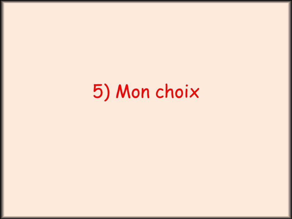 5) Mon choix