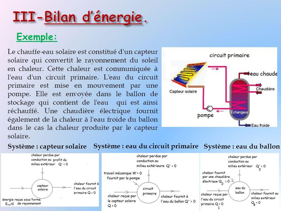III-Bilan d'énergie. Exemple: