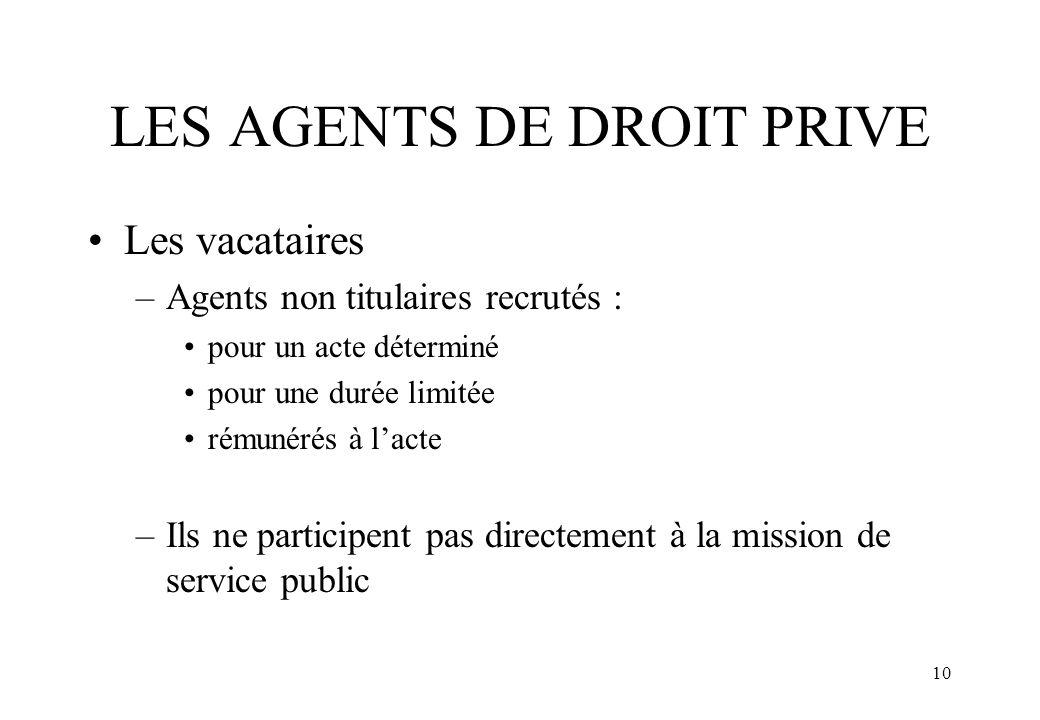 LES AGENTS DE DROIT PRIVE
