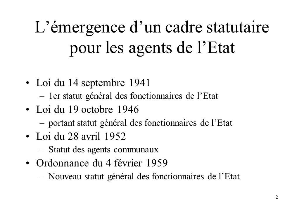 L'émergence d'un cadre statutaire pour les agents de l'Etat