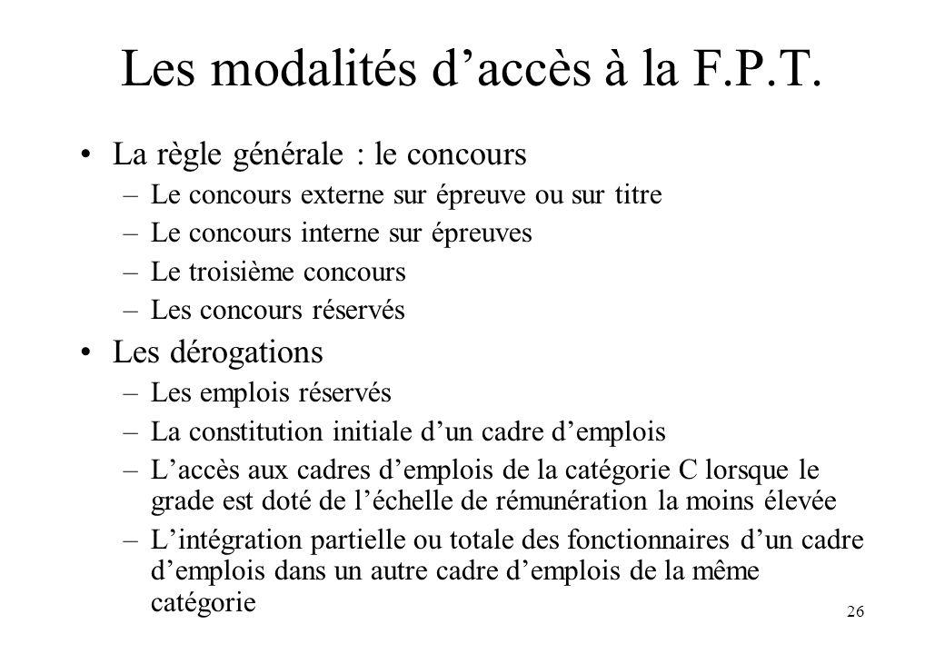 Les modalités d'accès à la F.P.T.