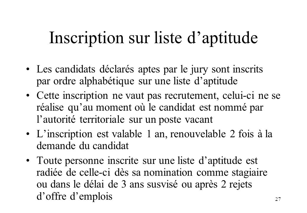 Inscription sur liste d'aptitude