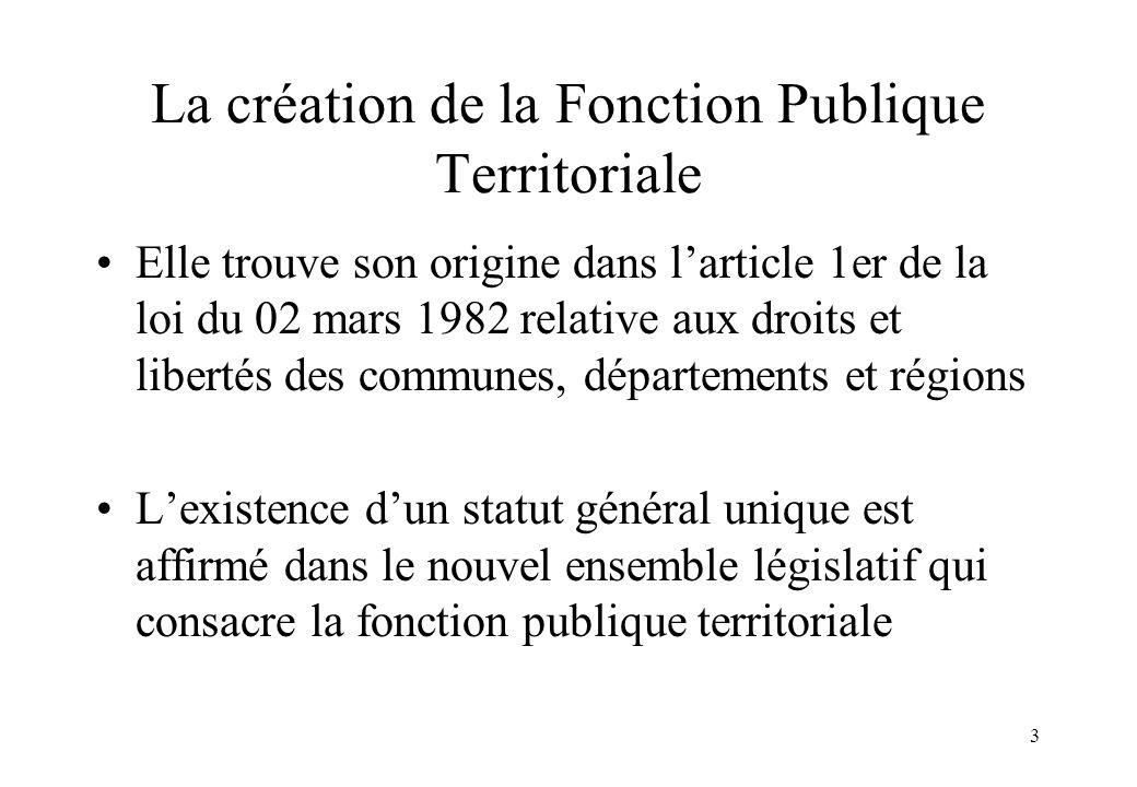 La création de la Fonction Publique Territoriale