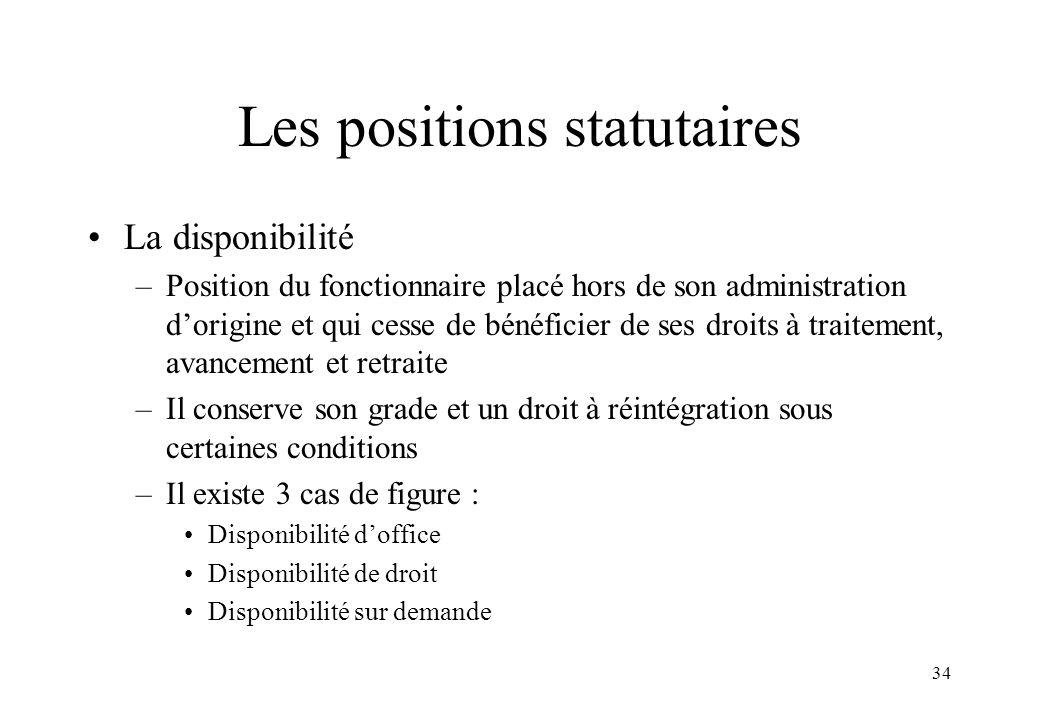 Les positions statutaires