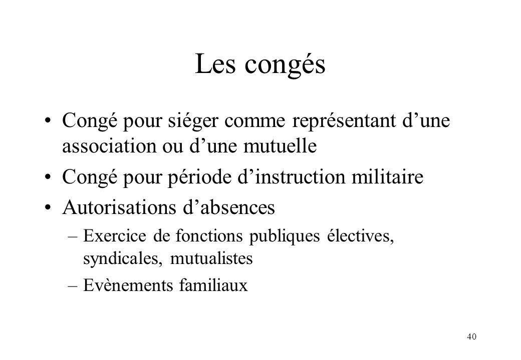Les congés Congé pour siéger comme représentant d'une association ou d'une mutuelle. Congé pour période d'instruction militaire.