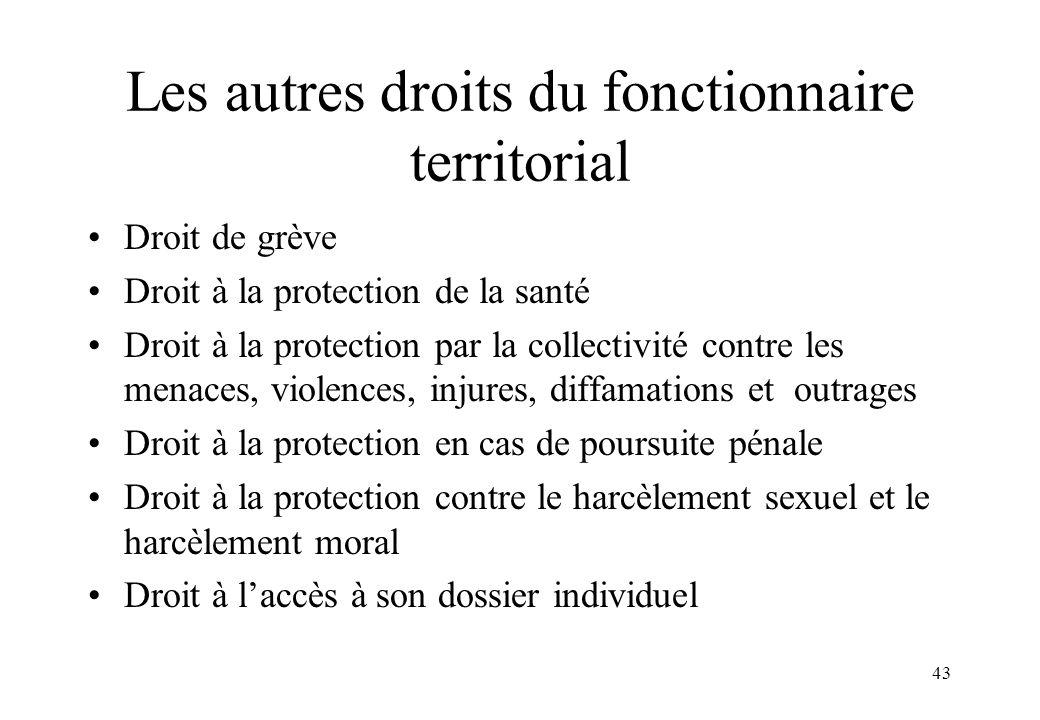 Les autres droits du fonctionnaire territorial