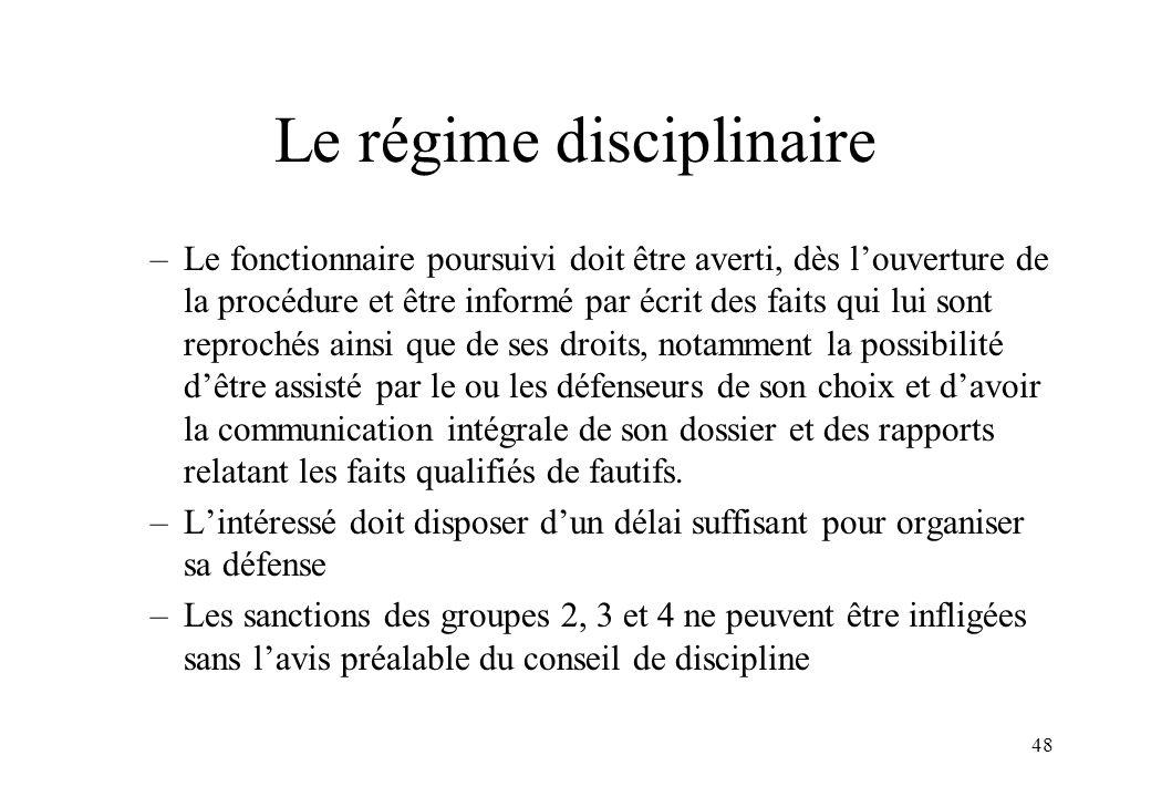 Le régime disciplinaire