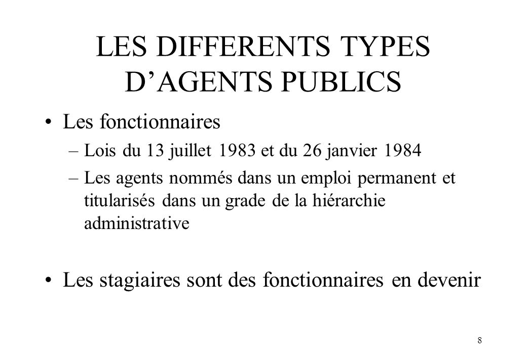 LES DIFFERENTS TYPES D'AGENTS PUBLICS