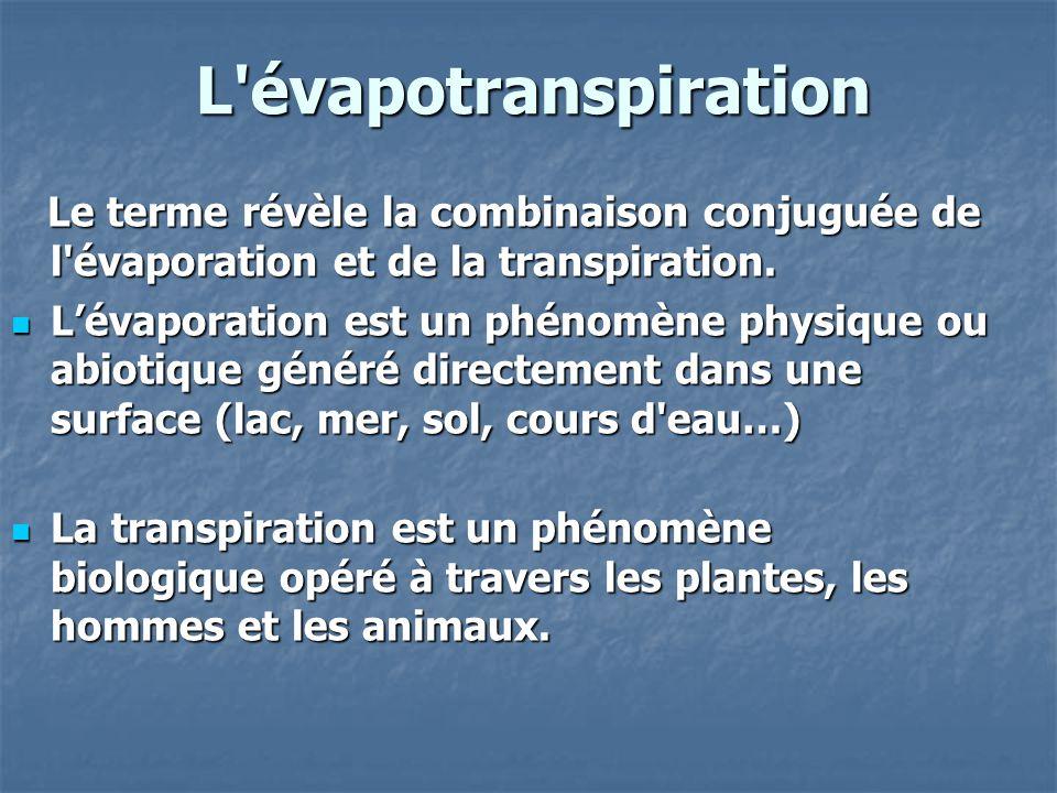 L évapotranspiration Le terme révèle la combinaison conjuguée de l évaporation et de la transpiration.