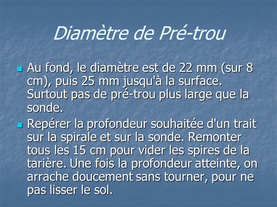 Diamètre de Pré-trou Au fond, le diamètre est de 22 mm (sur 8 cm), puis 25 mm jusqu à la surface. Surtout pas de pré-trou plus large que la sonde.