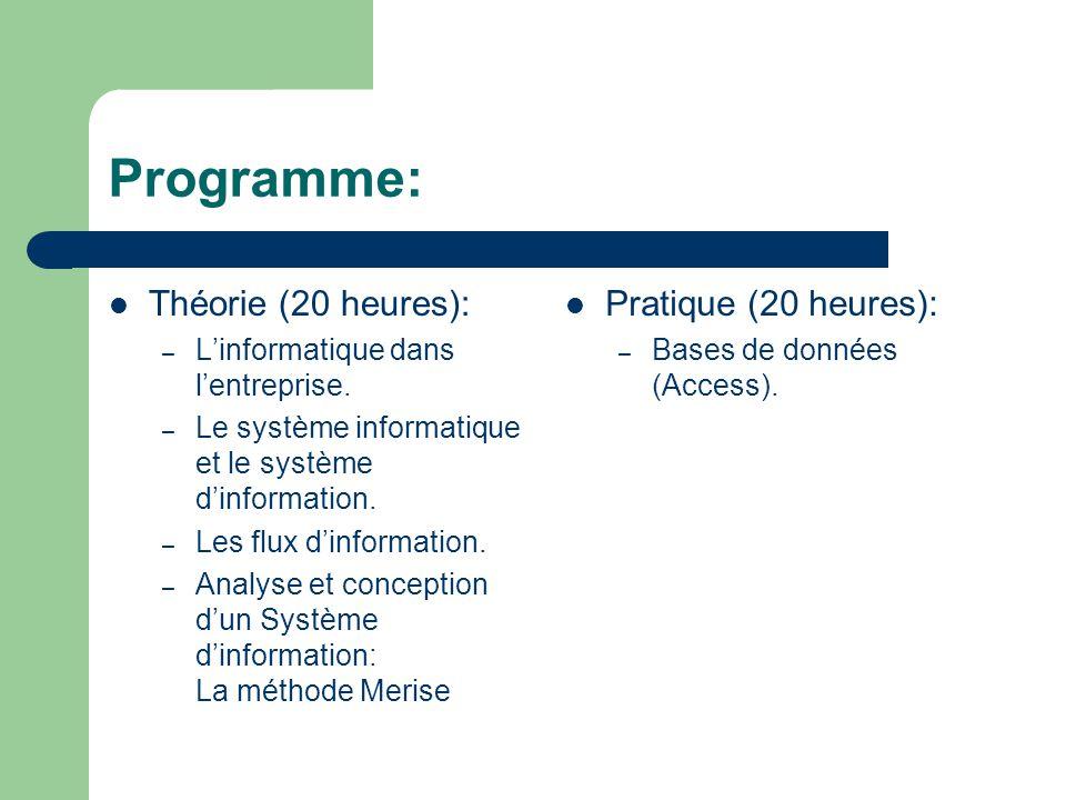 Programme: Théorie (20 heures): Pratique (20 heures):