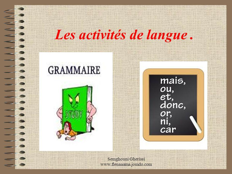 Les activités de langue .