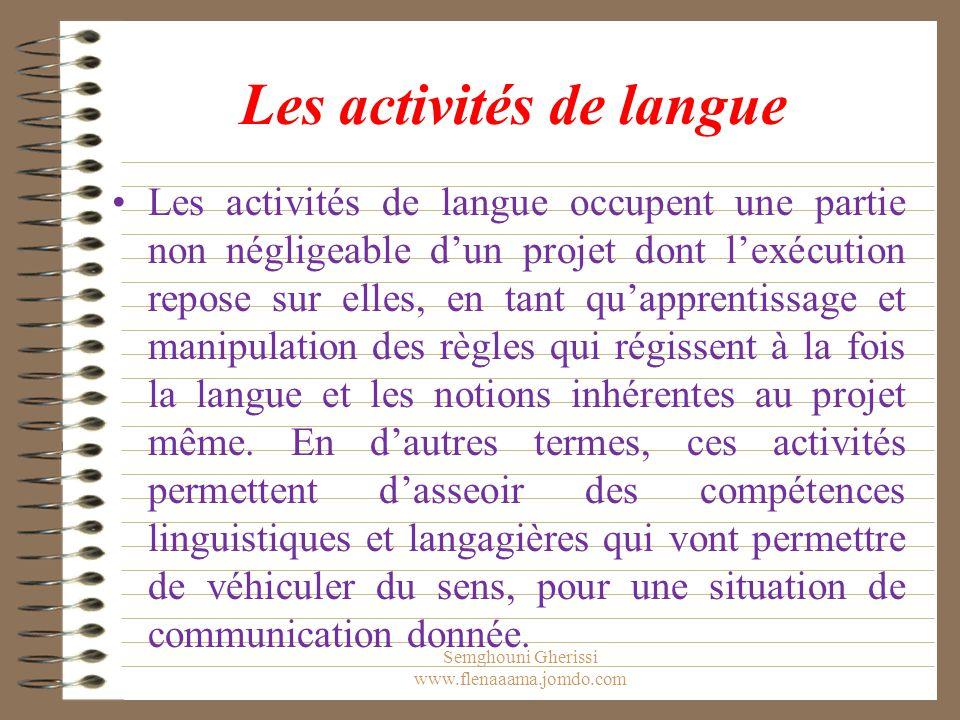 Les activités de langue