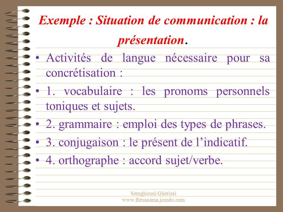 Exemple : Situation de communication : la présentation.
