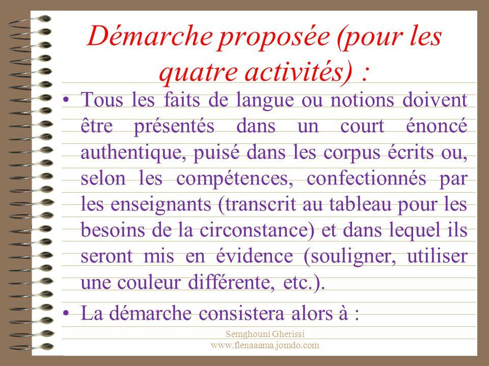 Démarche proposée (pour les quatre activités) :