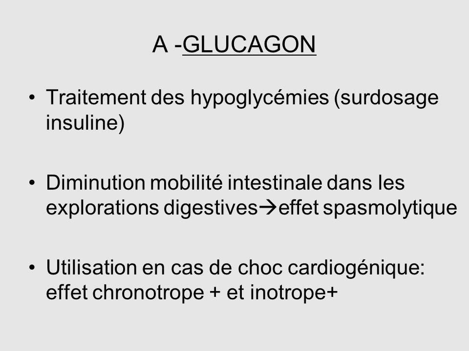 A -GLUCAGON Traitement des hypoglycémies (surdosage insuline)