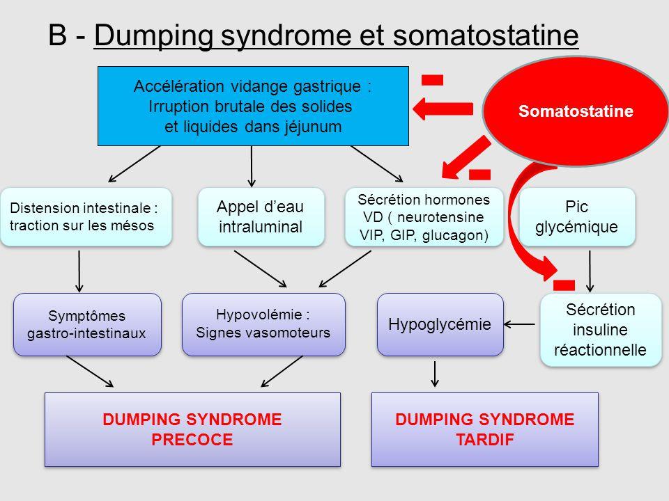 B - Dumping syndrome et somatostatine