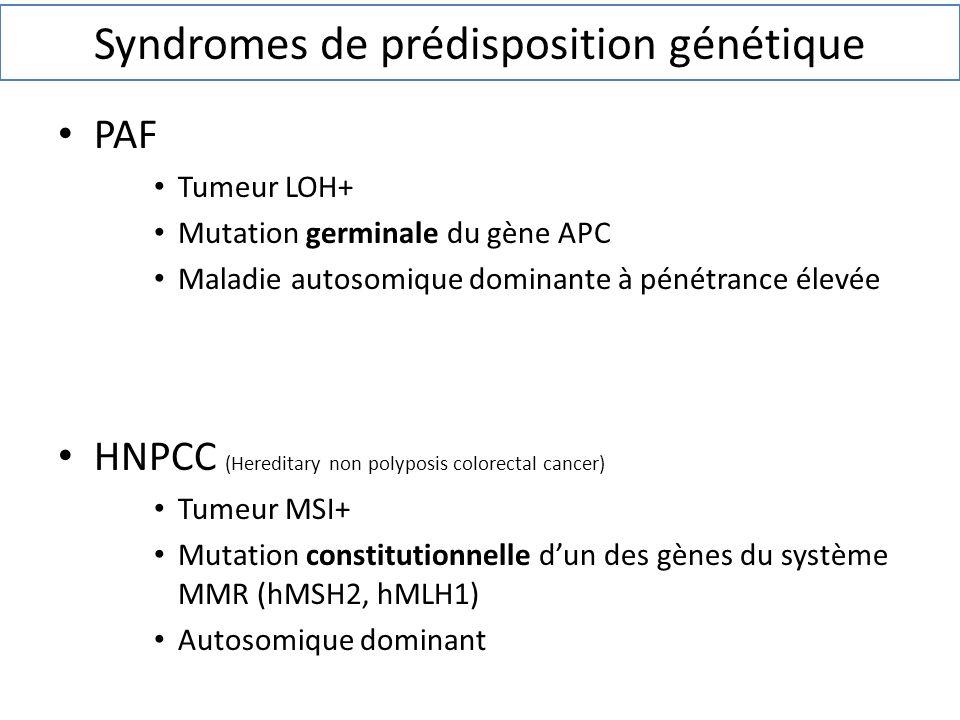Syndromes de prédisposition génétique