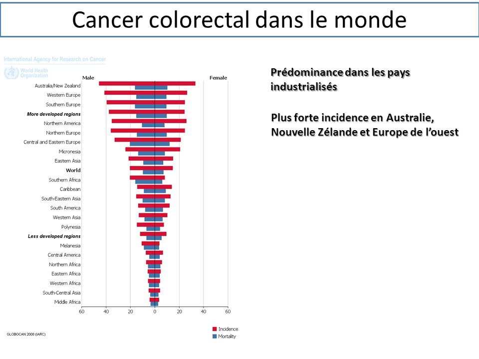 Cancer colorectal dans le monde