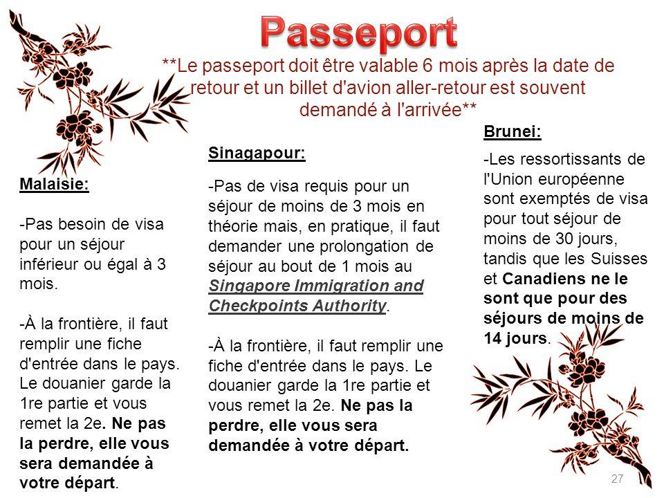 Passeport **Le passeport doit être valable 6 mois après la date de retour et un billet d avion aller-retour est souvent demandé à l arrivée**