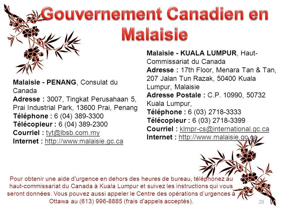 Gouvernement Canadien en Malaisie