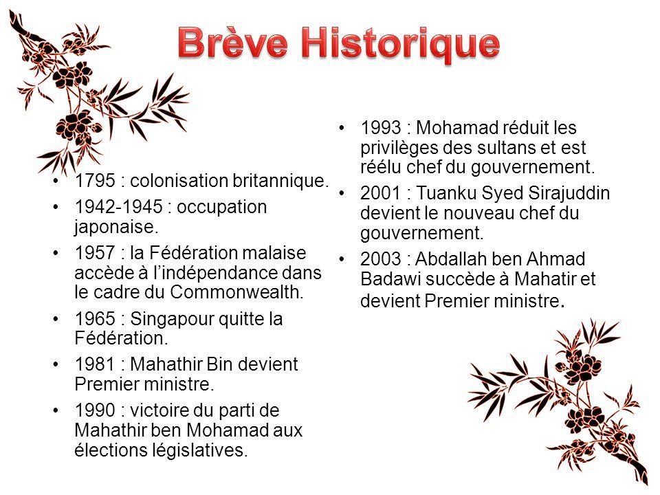 Brève Historique 1993 : Mohamad réduit les privilèges des sultans et est réélu chef du gouvernement.