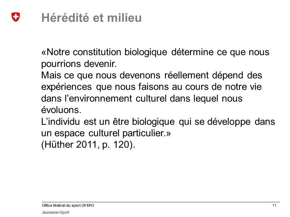 Hérédité et milieu «Notre constitution biologique détermine ce que nous pourrions devenir.