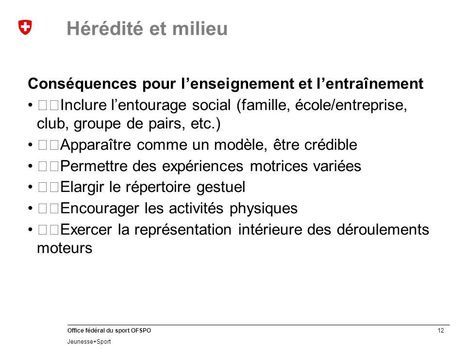 Hérédité et milieu Conséquences pour l'enseignement et l'entraînement