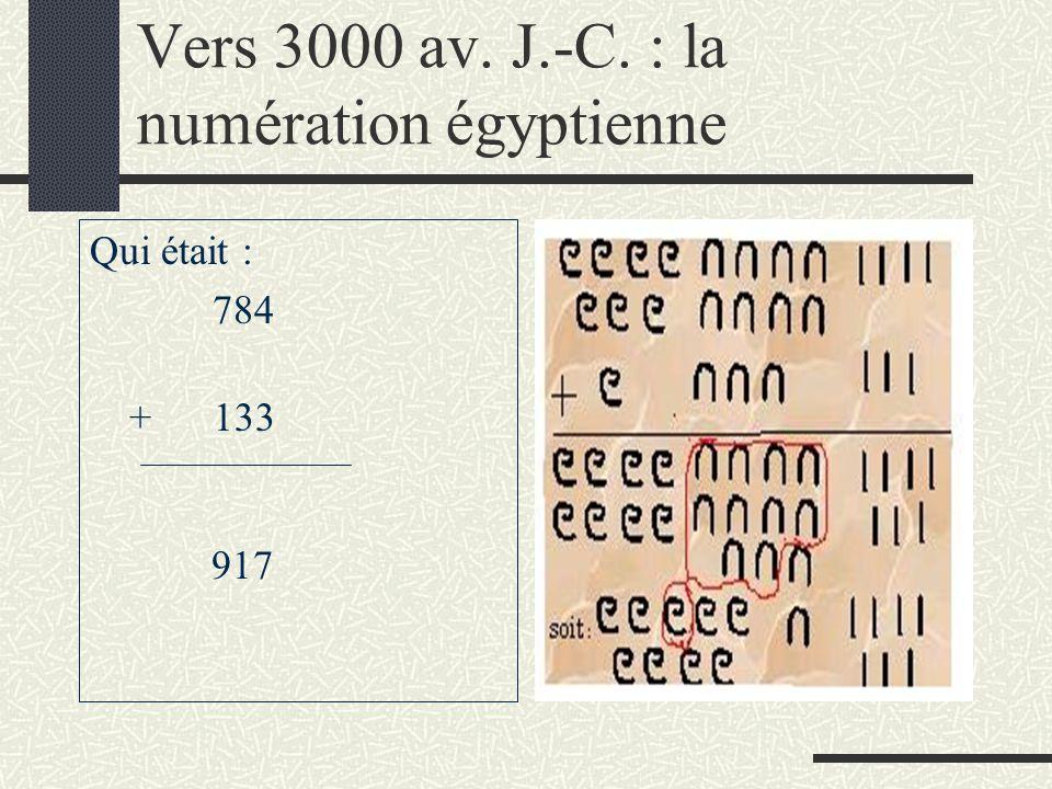 Vers 3000 av. J.-C. : la numération égyptienne
