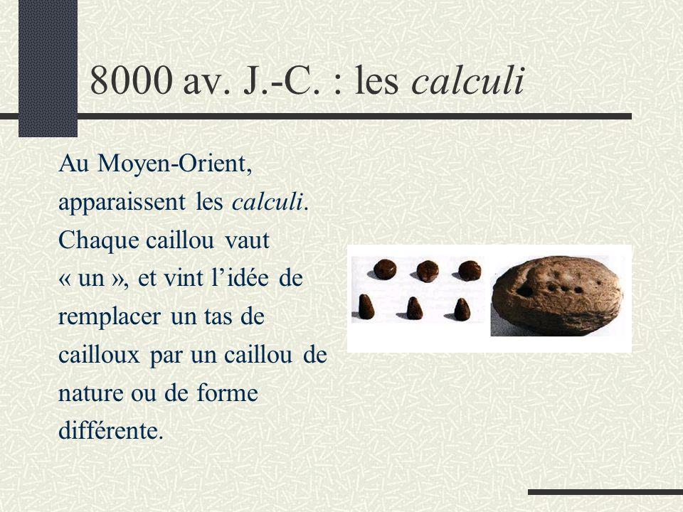 8000 av. J.-C. : les calculi Au Moyen-Orient,