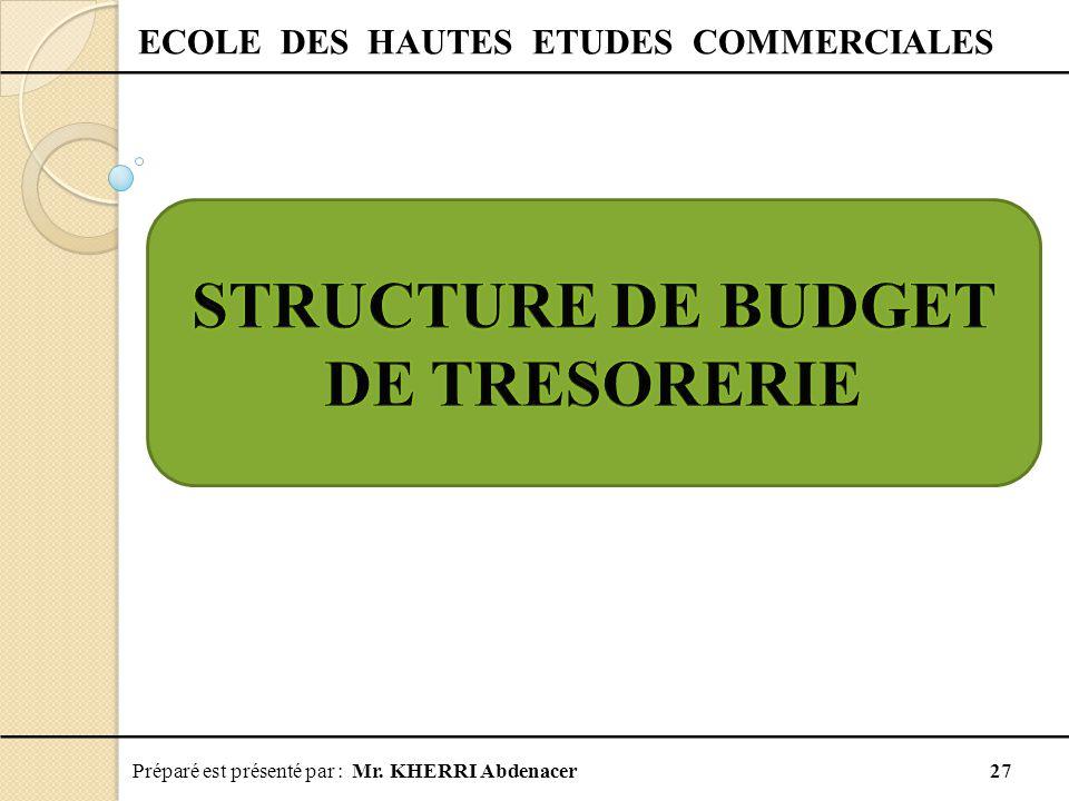 ECOLE DES HAUTES ETUDES COMMERCIALES STRUCTURE DE BUDGET DE TRESORERIE