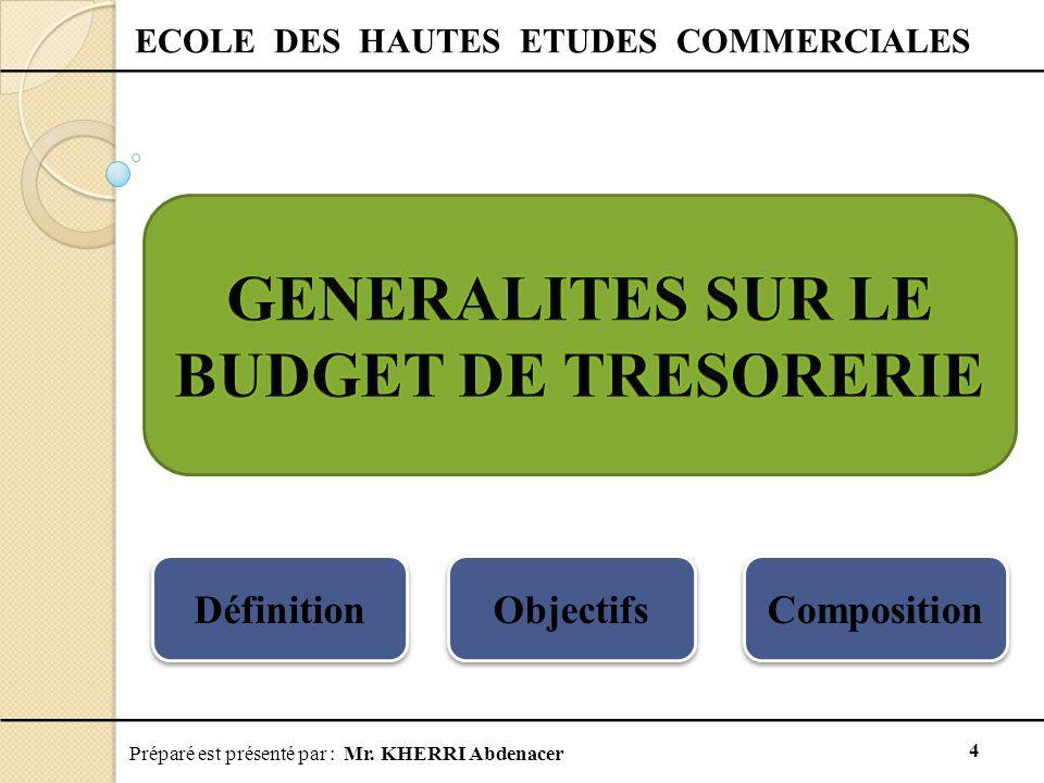 GENERALITES SUR LE BUDGET DE TRESORERIE
