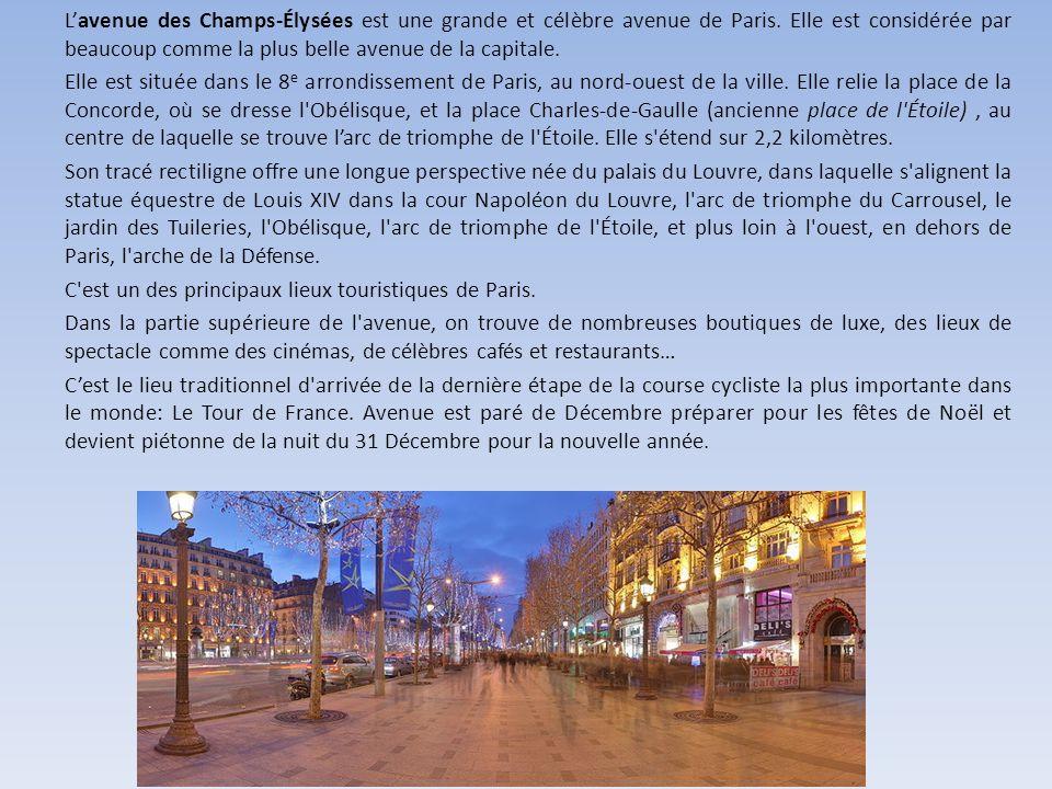 L'avenue des Champs-Élysées est une grande et célèbre avenue de Paris