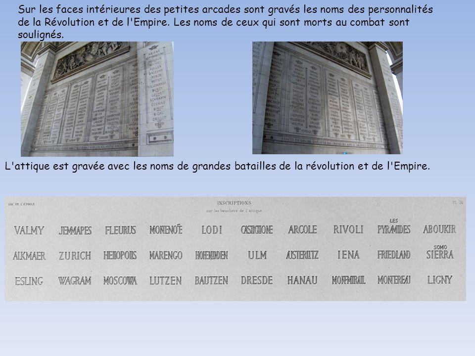 Sur les faces intérieures des petites arcades sont gravés les noms des personnalités de la Révolution et de l Empire. Les noms de ceux qui sont morts au combat sont soulignés.