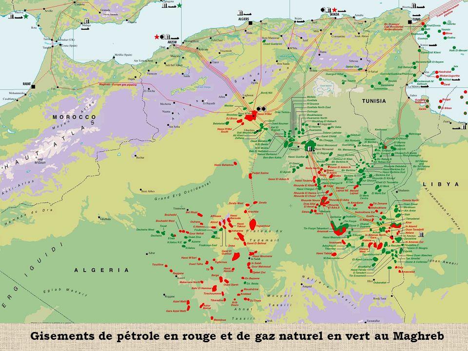 Gisements de pétrole en rouge et de gaz naturel en vert au Maghreb