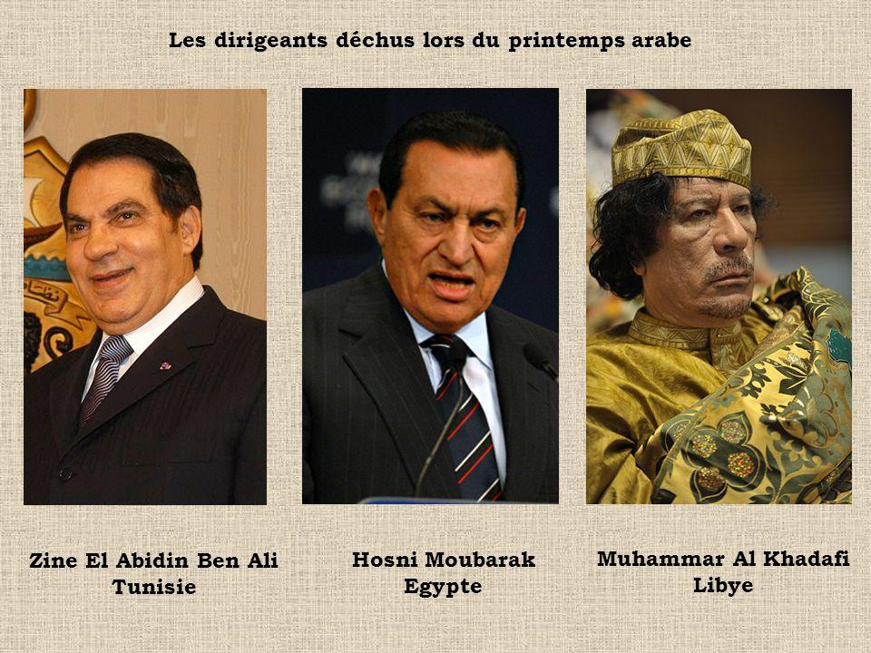 Les dirigeants déchus lors du printemps arabe