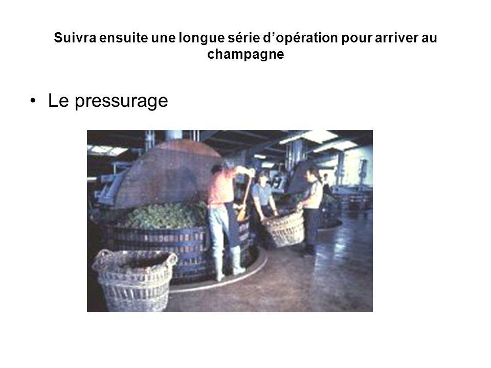 Suivra ensuite une longue série d'opération pour arriver au champagne